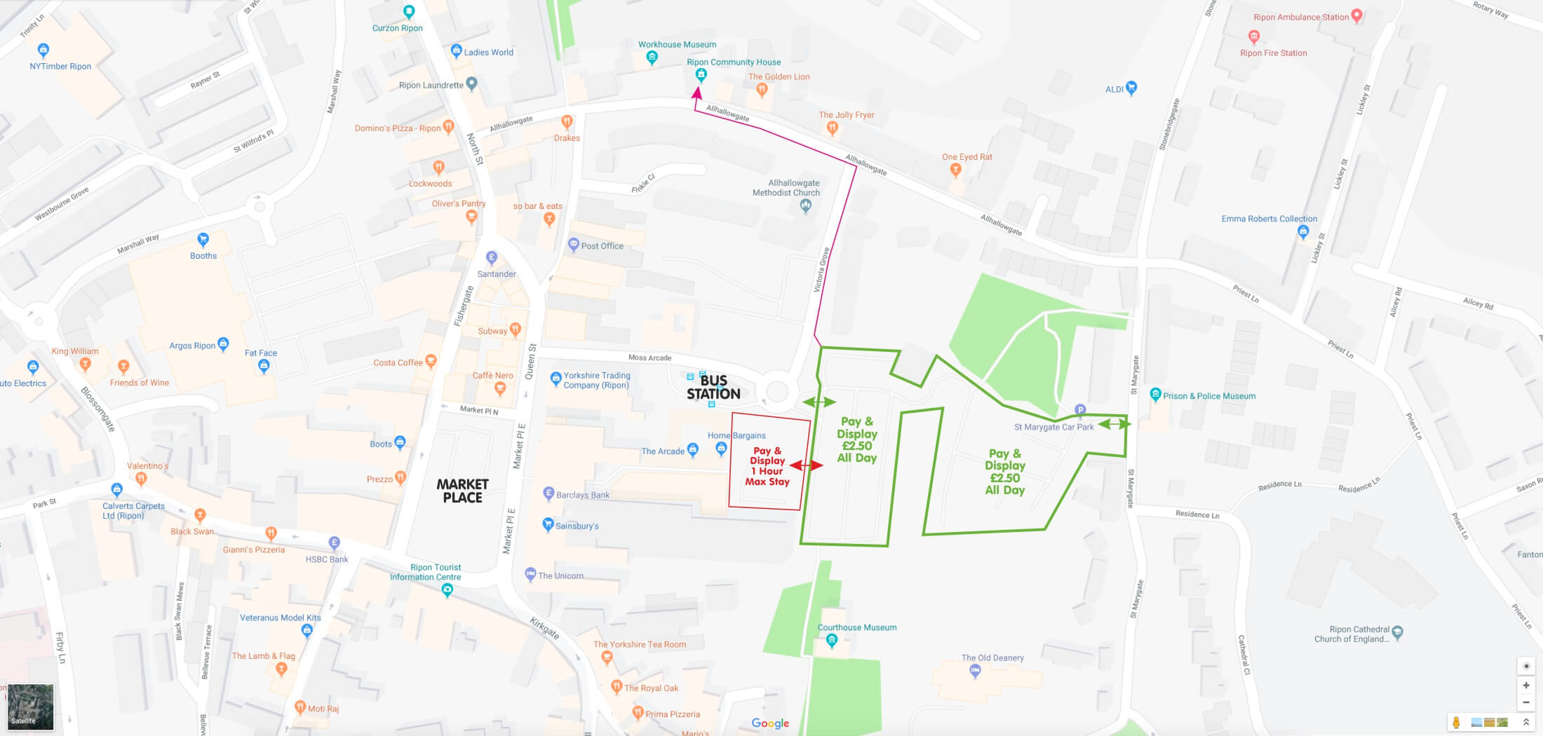 Ripon Parking Map